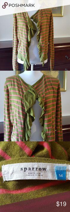 "🎃 Anthropologie Sparrow Asymmetrical Cardigan Medium Olive Green and Pink Stripe Cardigan with Asymmetrical Ruffle Front.  Approximate Measurements: Length 20"" Sleeve Length 24"" Anthropologie Sweaters Cardigans"