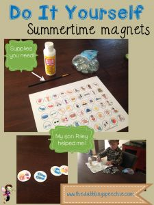 The Dabbling Speechie: DIY Summer Themed Magnets! Pinned by SOS Inc. Resources. Follow all our boards at pinterest.com/sostherapy/ for therapy resources.