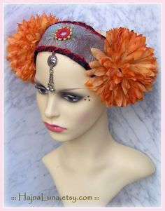 US$35.00,  ATS Costume Headdress, Tribal Fusion Headdress, Tribal Belly Dance Headdress, Flowers Headpiece, Boho, Gypsy Headdress, Silk Flower Headband