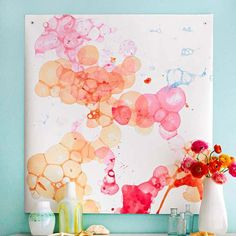 Paint Technique: Watercolor Bubbles. Try this watercolor bubble technique to create whimsical works of art. DIY at http://www.bhg.com/decorating/do-it-yourself/wall-art/watercolor-wall-art/
