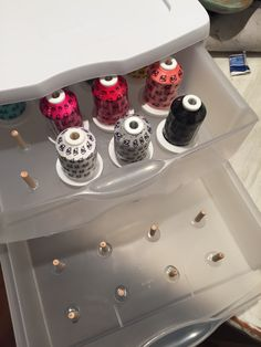 "Embroidery thread storage DIY. 3 drawer Sterilite container, hot glue, and 1/4"" dowel pins. Keeps thread organized, dust free, and also protects from sunlight!"