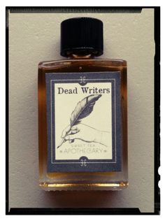 """Dead Writers Perfume   """"This blend evokes the feeling of sitting in an old library chair paging through yellowed copies of Hemingway, Shakespeare, Fitzgerald, Poe, and more. The Dead Writers blend makes you want to put on a kettle of black tea and curl up with your favorite book."""""""