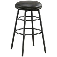 """Avery 26"""" Tobacco Bonded Black Leather Swivel Counter Stool - Style # 9T691"""