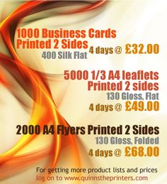 Business cards, Leaflets, flyers printing at Quinn's the printers at affordable pricces