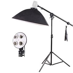 94.66$  Buy here - http://ai2kp.worlditems.win/all/product.php?id=32465769705 - Photo Studio Video Lighting Kit Light Stand + SoftBox with 4 x E27 lamp holder+ Photo Studio Boom Arm 75-135cm Hairlight psba1e