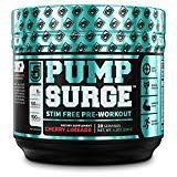 PUMPSURGE Caffeine-Free Pump & Nootropic Pre Workout Supplement Non Stimulant Preworkout Powder & Nitric Oxide Booster20 Servings Cherry Limeade 9.2 OZ
