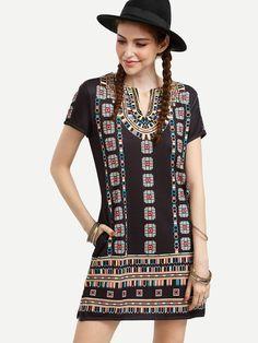 Black+Short+Sleeve+Print+Shift+Dress+18.99