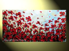 "Original Abstract Painting Landscape Red Poppies Textured Palette Knife, Poppy Flower Painting Modern Autumn Fine Art 24x48"" -Christine. $295.00, via Etsy."