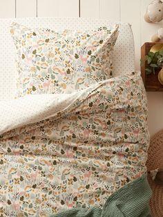 Enchanted Forest cotton duvet cover - white print, Home Girl Room, Linen Children, Toddler Room, Kids Bedroom, Bed, Home, Bedroom, White Duvet Covers, Room