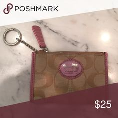 Coach keychain wallet Tan with pink leather outlines Coach Bags Mini Bags