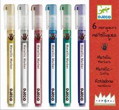 #Djeco 6 coole metalic markers from www.kidsdinge.com    www.facebook.com/pages/kidsdingecom-Origineel-speelgoed-hebbedingen-voor-hippe-kids/160122710686387?sk=wall         http://instagram.com/kidsdinge #Kidsdinge #Toys #Speelgoed