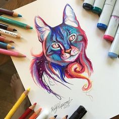 Animal Drawings WaterColor Pencil Drawings by Katy Lipscomb More - Submission to 'Marker-drawing-pencil-artist-katy-lipscomb' Marker Kunst, Copic Marker Art, Colorful Drawings, Cool Drawings, Marker Drawings, Sketch Markers, Cat Drawing, Painting & Drawing, Panda Drawing
