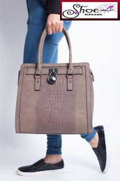 undefinedDesigner Crocodile Leather Style Shoulder Bag Handbag Tote MOCHA