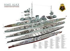 Ross Watton Ship Paintings: HMS AJAX (cutaway) Battle Boats, Chatham Dockyard, Barrow In Furness, Military Drawings, Alternate Worlds, Ship Paintings, Naval History, Deck Plans, Navy Ships