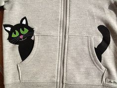 Items similar to Kitty Cat in my Pocket Zip Up Hoodie/ Jacket/ Coat on Etsy hashtags T Shirt Painting, Fabric Painting, Sewing For Kids, Baby Sewing, Hoodie Jacket, Diy Clothes, Diy Fashion, Baby Dress, Boy Outfits