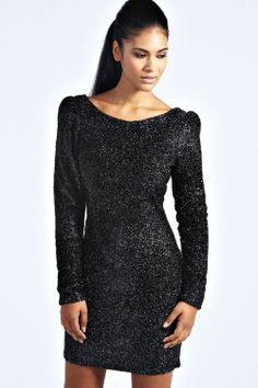 boohoo Faye Tinsel Fabric Long Sleeve Bodycon Dress