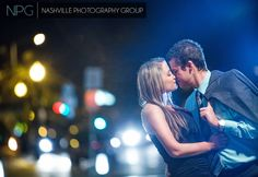 The streets of downtown Nashville at night  Engagement photography by Nashville Photography Group::