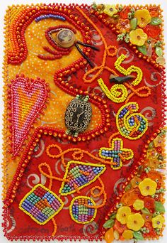 Robin Atkins Facing a Wall of Denial Bead Journal Project for June., 2007. Bead embroidery on two fabrics. This month was dominated by awareness of my a...