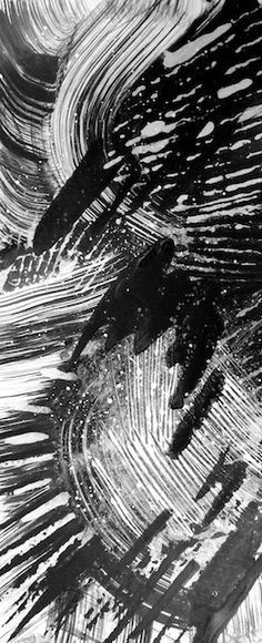 Black and White Abstract in India Ink by Polly Castor