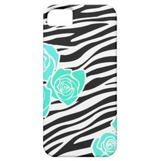Zebra pattern + turquoise roses iPhone 5 Case iPhone 5 Cases