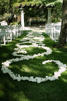 White rose petal aisle scrollwork - October wedding in Valley Center.  Fusion Art Studio Photography & Floral Designs by Bethany