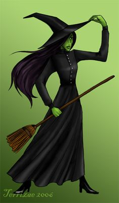 More Wicked fanart. Elphaba, the Wicked With of the West, and the main character. Towards the end of the book she got kinda bitchy, which was all the mo. Scary Halloween, Halloween Costumes, Witch Tattoo, Something Wicked, Defying Gravity, Wicked Witch, Wicked Musical, Witch Art, Wiccan