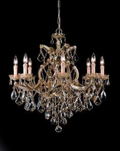 Eight Light Maria Theresa Antique Brass Chandelier Draped in Golden Teak Crystal