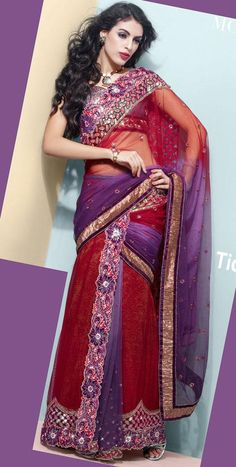 Bluish Purple And Red Net Lehenga Saree 16076 With Unstitched Blouse