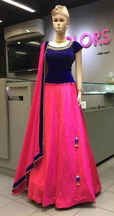 Mahi Fashion ~ Products ~ Pink Plain Banglori Silk Designer Lehenga With Embroidery Blouse ~ Shopify Lehenga Choli Designs, Kurta Designs, Half Saree Designs, Saree Blouse Designs, Dress Designs, Long Gown Dress, Lehnga Dress, Lengha Choli, Indian Gowns Dresses