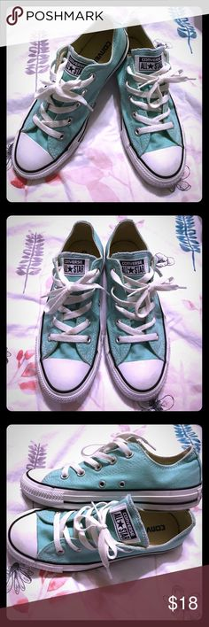 Cute Mint Converse All Star Sneakers - Size 6W/4M Super cool Mint Green Converse All Star Sneakers - Converse are sold in unisex sizes, so these are a Men's size 4 or a Women's size 6, but they fit more like a Size 7 or 7 1/2 Women's in my opinion (which is the size I wear) - In GREAT condition, only worn a couple of times - Sneakers are super comfy and the epitome of cool - Converse All Stars are one of the most worn and recognizable sneakers in the world!  Great for on a casual date night…