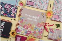 Keep your mementos and look back at old memories in this scrap book bursting with colour Uni, Pink And Green, Stationary, Summertime, Vibrant, Scrapbook, Colours, In This Moment, Memories