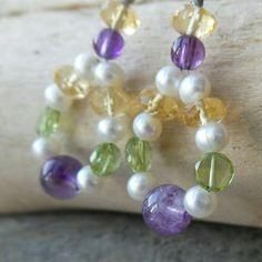 Multi Gemstone Hoop Earrings-Amethyst- Peridot-Citrine- Freshwater Cultured Pearls- Sterling Silver Gemstone Earrings - Purple Yellow Green by WaterRhythmGems on Etsy