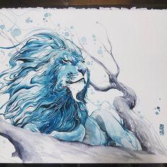 """""""Aslan"""" Watercolors (DanielSmith) on Arches Aquarelle 300gsm. #watercolor #watercolour #art #illustration #lion #pain -"""