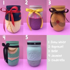 Hand Painted Disney Princess Mason Jars Can Be Used for Home, Work, or Parties Mason Jar Projects, Mason Jar Crafts, Mason Jar Diy, Old Wine Bottles, Wine Bottle Crafts, Disney Diy, Disney Crafts, Disney Ideas, Disney Stuff