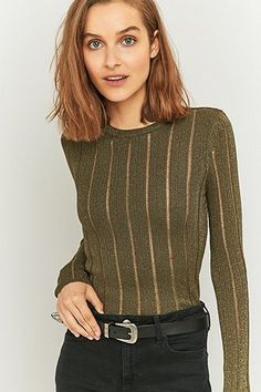 Sparkle & Fade Ladder Cut Out Khaki Jumper - Urban Outfitters