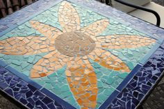 1 My sisters DIY project: Ceramic Tile Mosaic Table Top