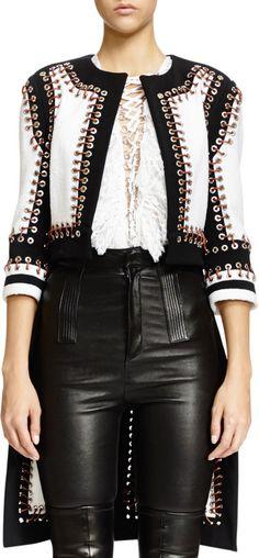Givenchy Nette Grommet Textured Paneled Jacket, Black/White
