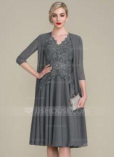 [US$ 156.19] A-Line/Princess V-neck Knee-Length Mother of the Bride Dress With Beading