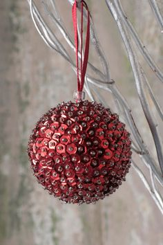 Christmas Ball/ Sequin Ball/ Christmas Gift/ Christmas Tree Decoration/ Christmas Ornaments/ Sequin/Red Sequins and Beads by SequinsAndMore on Etsy https://www.etsy.com/listing/477853028/christmas-ball-sequin-ball-christmas