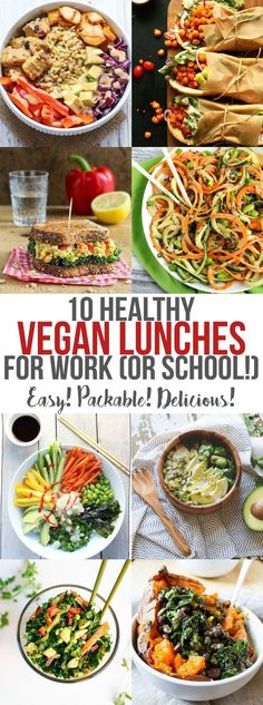 Skip the fast-food line and pack your own lunch! These 10 Healthy Vegan Lunches … Skip the fast-food line and pack your own lunch! These 10 Healthy Vegan Lunches for Work (or School!) are easy to pack in a container and are super tasty. Vegan Lunches, Vegan Foods, Vegan Dishes, Healthy Snacks, Healthy Eating, Clean Eating, Healthy Fast Food, Healthy Weight, Healthy Vegan Meals