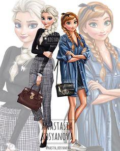 Which one? Elsa💙 or Anna💚? My new Disney collection Disney Princess Outfits, Punk Disney Princesses, Disney Princess Frozen, Disney Princess Drawings, Disney Princess Pictures, Disney Drawings, Princess Anna, Kawaii Disney, Cute Disney