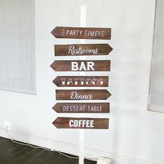 Hand painted Wedding Signage - Directional Arrows   #handpaintedsign #wedding #capetownwedding #directionalsign #rusticwedding