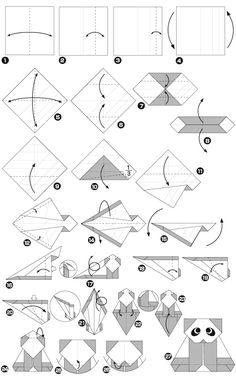 Origami of panda Origami Yoda, Instruções Origami, Origami Star Box, Kids Origami, Origami Fish, Origami Dragon, Origami Bookmark, Paper Crafts Origami, Oragami