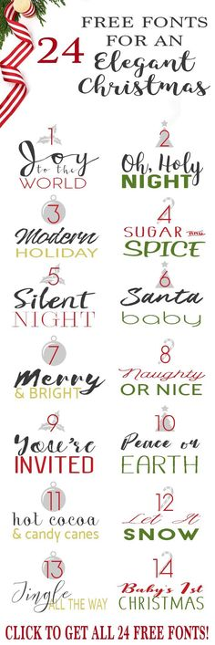 Elegant Holiday Fonts and Pairs - Fonts - Ideas of Fonts - Free Fonts for Christmas Cards Invitations Crafts Gifts (and even for Cricut and Silhouette Machines)! Full commercial use for ALL of these fonts so no legal trouble. Holiday Fonts, Christmas Fonts, Diy Christmas Cards, Christmas Crafts, Christmas Quotes, Holiday Cards, Christmas Holidays, Calligraphy Christmas, Christmas Stencils