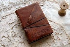 Simply Scraps  Rustic Leather Scrap Book / Smash by bibliographica, $45.00