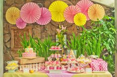 Stunning use of yellow and pink for this party! Love how the food and decorations flow together.