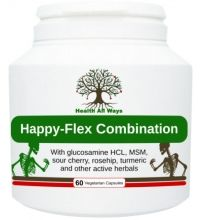 Happy Flex Combinaton Joint and flexibility support formula:  A comprehensive joint and connective tissue formula, with a special combination of bioavailable glucosamine HCL, MSM and active herbal and food-based ingredients (including Montmorency cherry, rosehip, kelp, turmeric, ginger and more)!  For happy and healthy joints!
