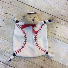 "Taggie Bear that has knots on the corners. Baseball theme. 6"""