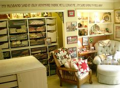 """Love this fabric storage and the decal on the wall """"My husband says if I buy any more fabric he will leave me.  I sure will miss him"""" (from La Bella Vie)"""