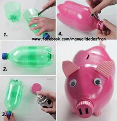 DIY piggy bank made with a bottle and paint